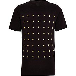 T-shirt noir motif tête de mort clouté pour garçon