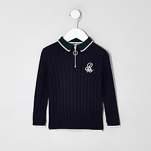 Mini boys navy 'R96' zip polo shirt