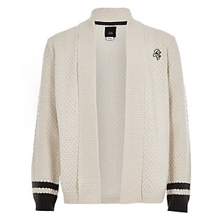 Boys ecru knit tipped cardigan