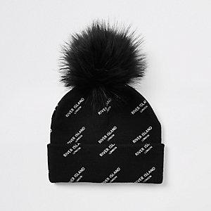 Kids black RI monogram faux fur beanie hat