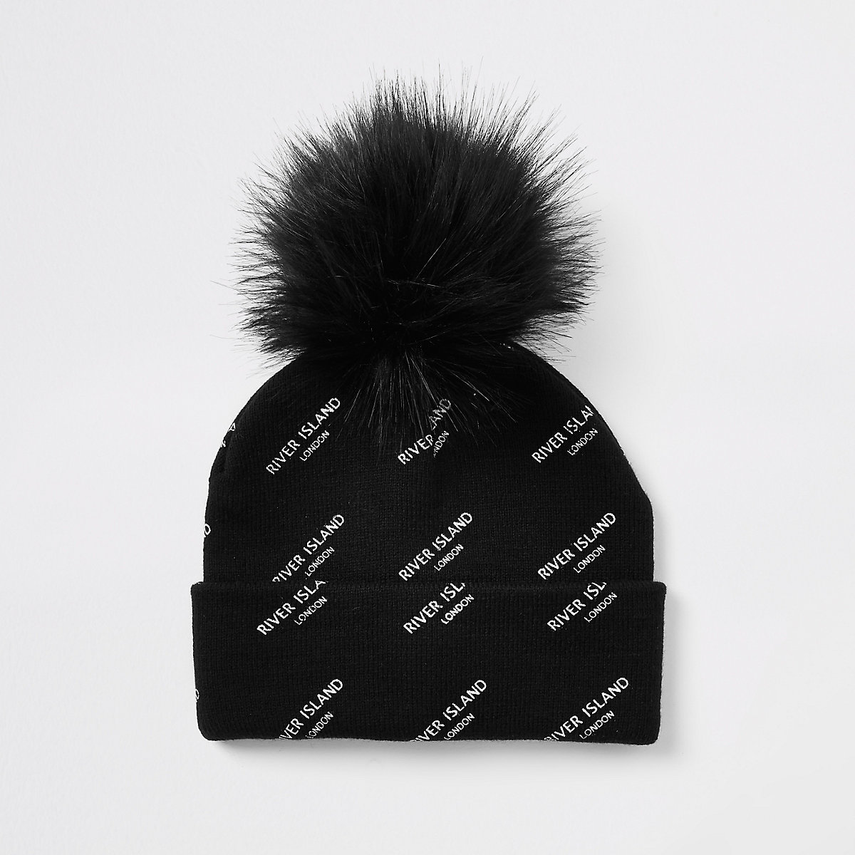 Kids black RI monogram faux fur beanie hat
