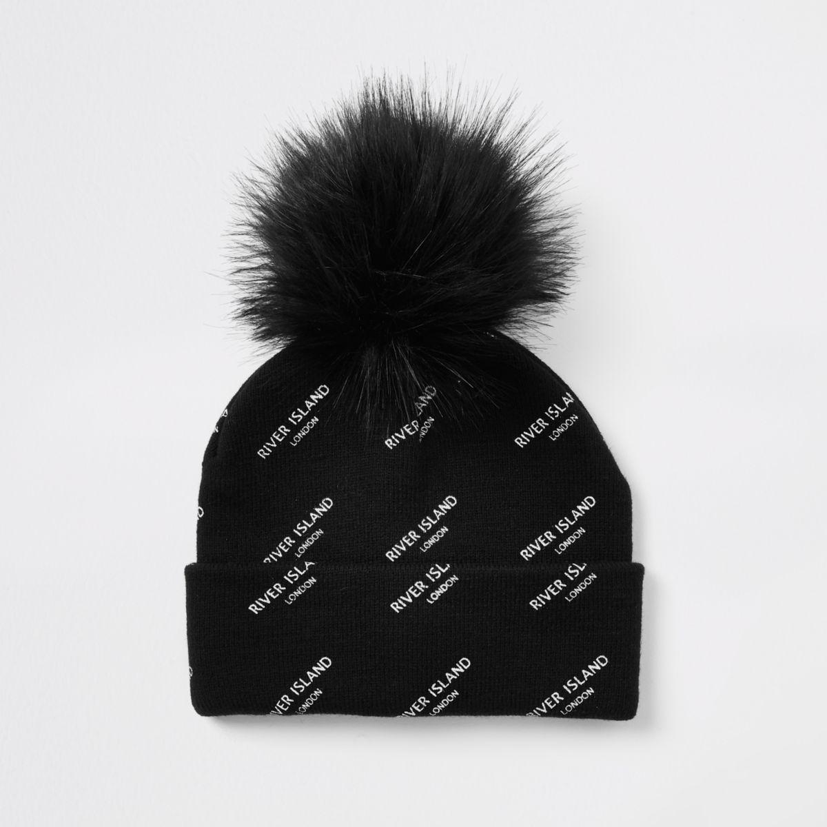 Kids black RI monogram beanie hat