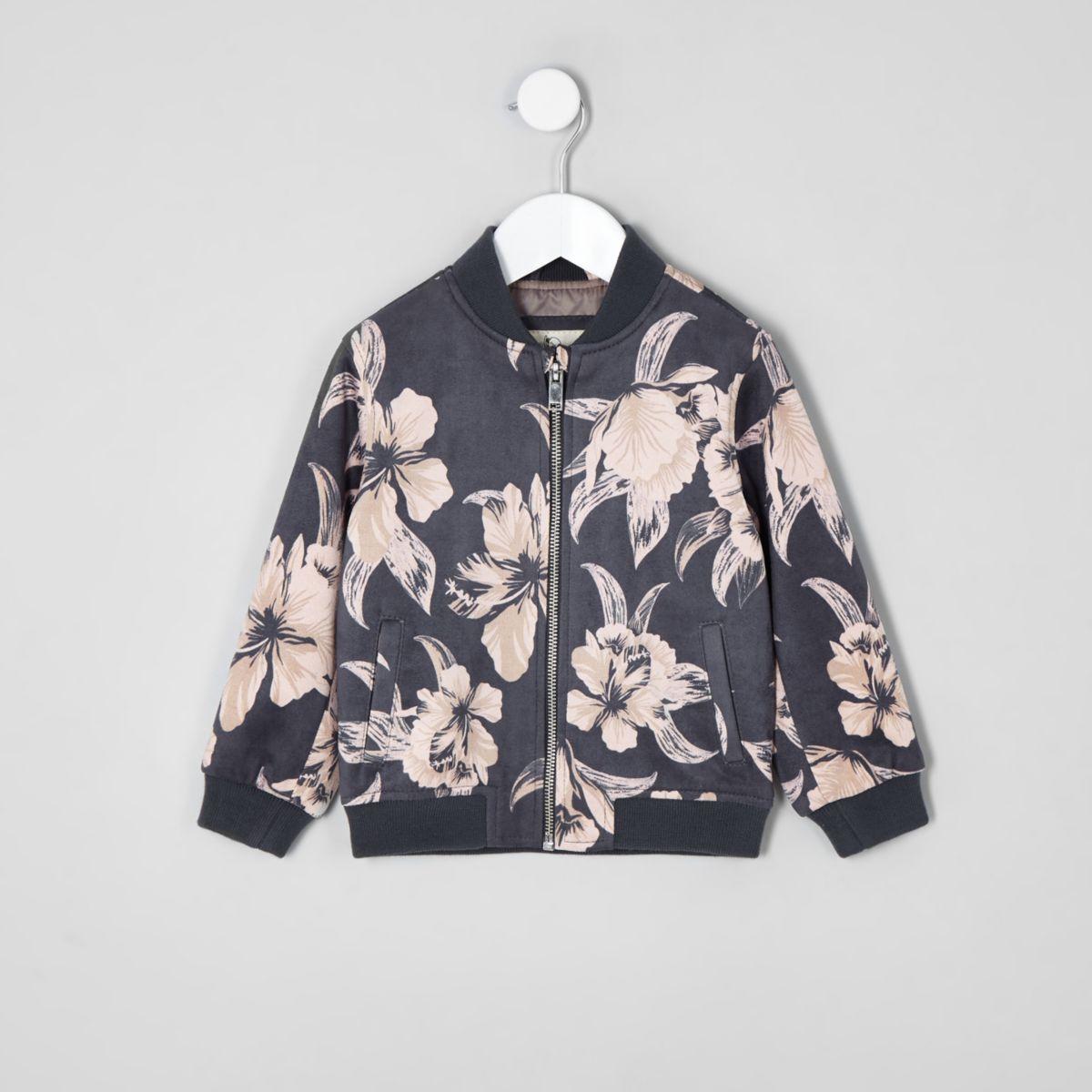 Mini boys grey floral bomber jacket