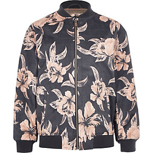 Boys grey floral faux suede bomber jacket