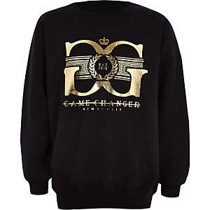Boys black 'game changer' gold foil sweater
