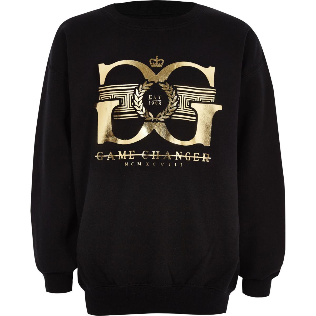 Boys black 'game changer' gold foil sweater