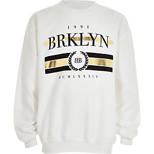 Boys black 'Brklyn' gold foil sweatshirt