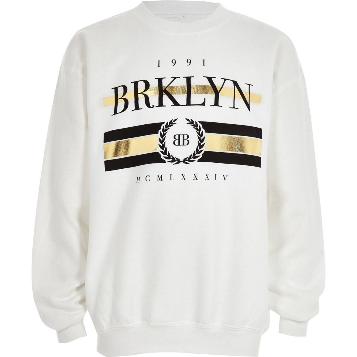Boys black 'Brklyn' gold foil sweatshirt