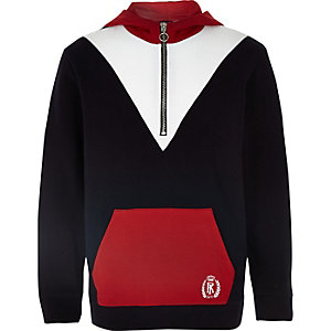 Boys red blocked zip hoodie