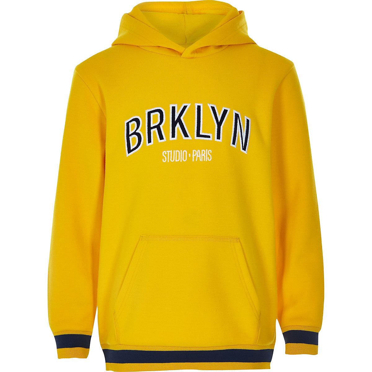 Boys yellow 'Brklyn' hoodie