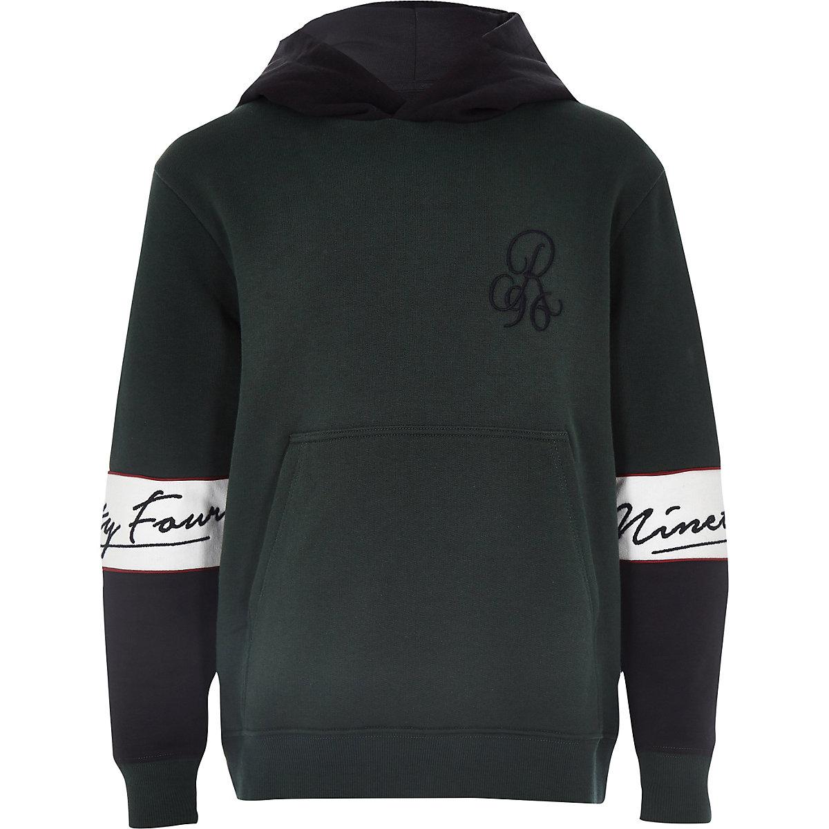 Boys green colour block hoodie