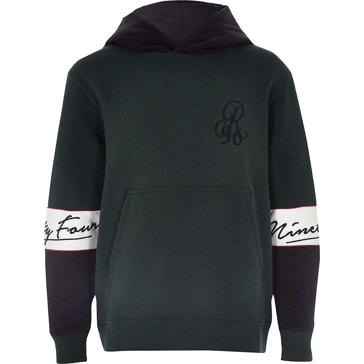Boys green color block hoodie