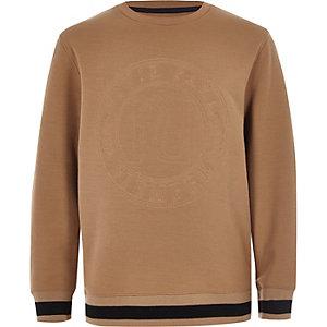 Kiezelkleurig sweatshirt met geborduurd RI-logo voor jongens