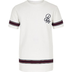 Boys white 'R96' tape T-shirt