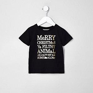 Mini - Zwart T-shirt met Home Alone-print voor jongens