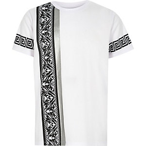 Boys white baroque side print T-shirt
