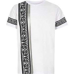 Wit T-shirt met barokprint opzij voor jongens