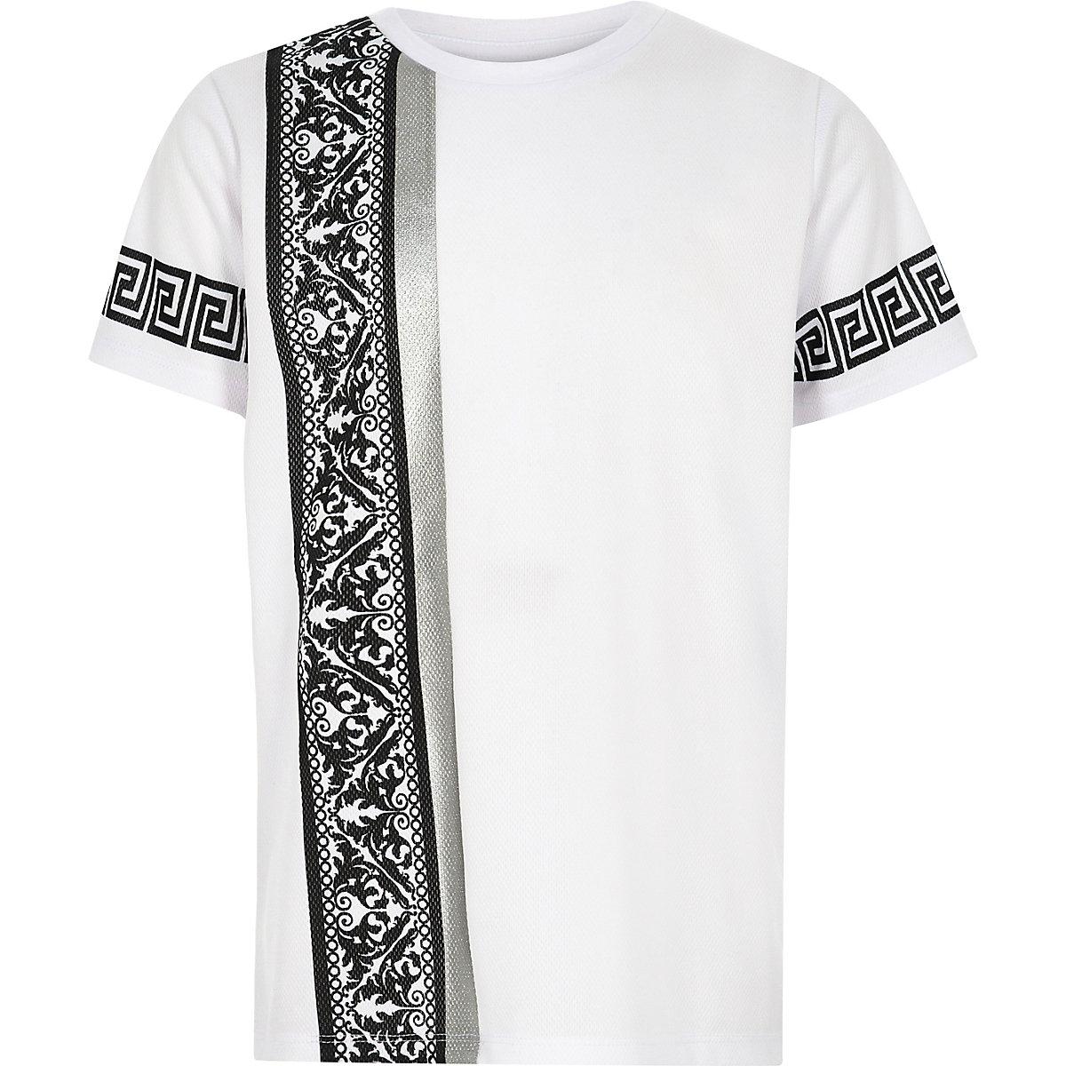 Boys white baroque side print T-shirt