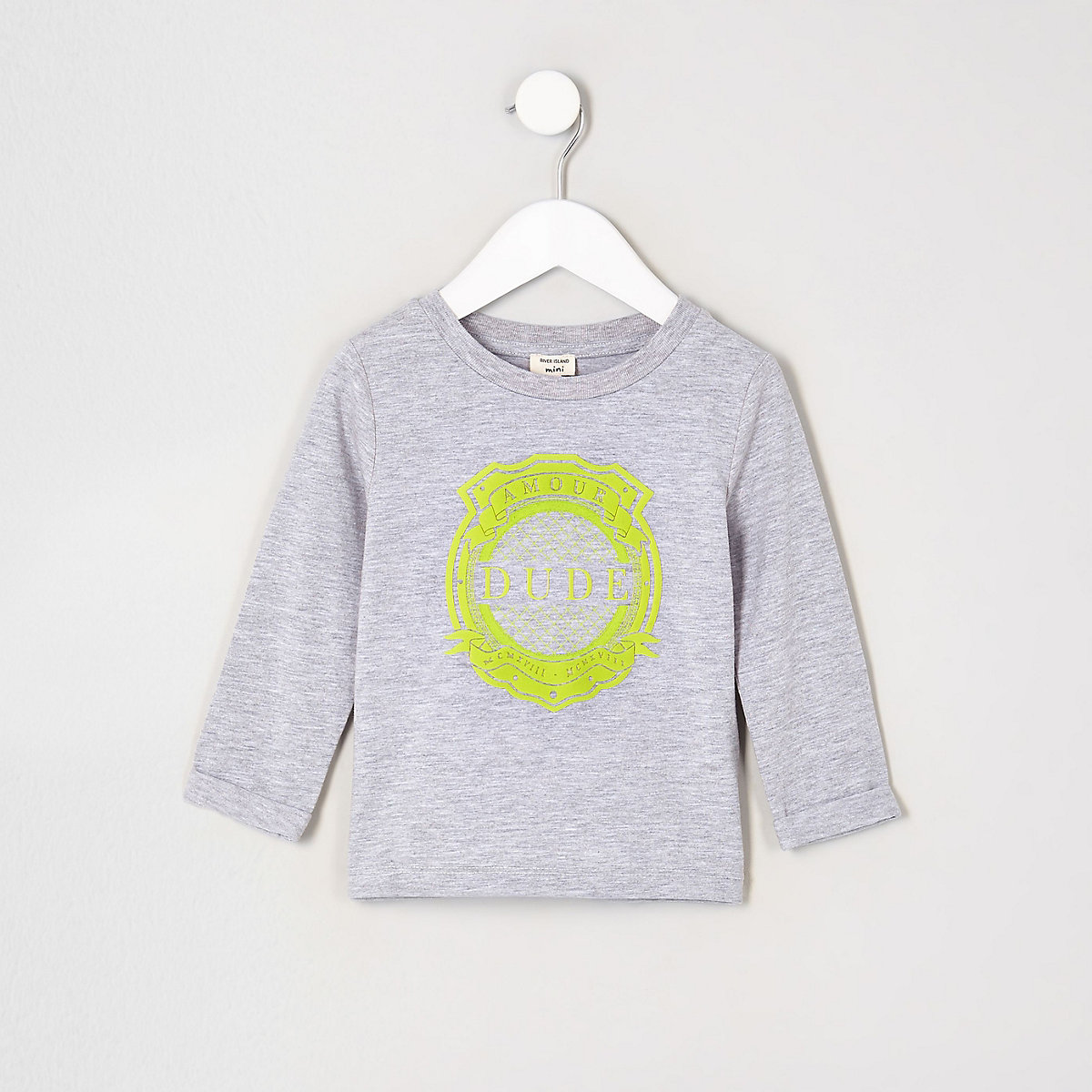 Mini boys grey 'dude' long sleeve T-shirt
