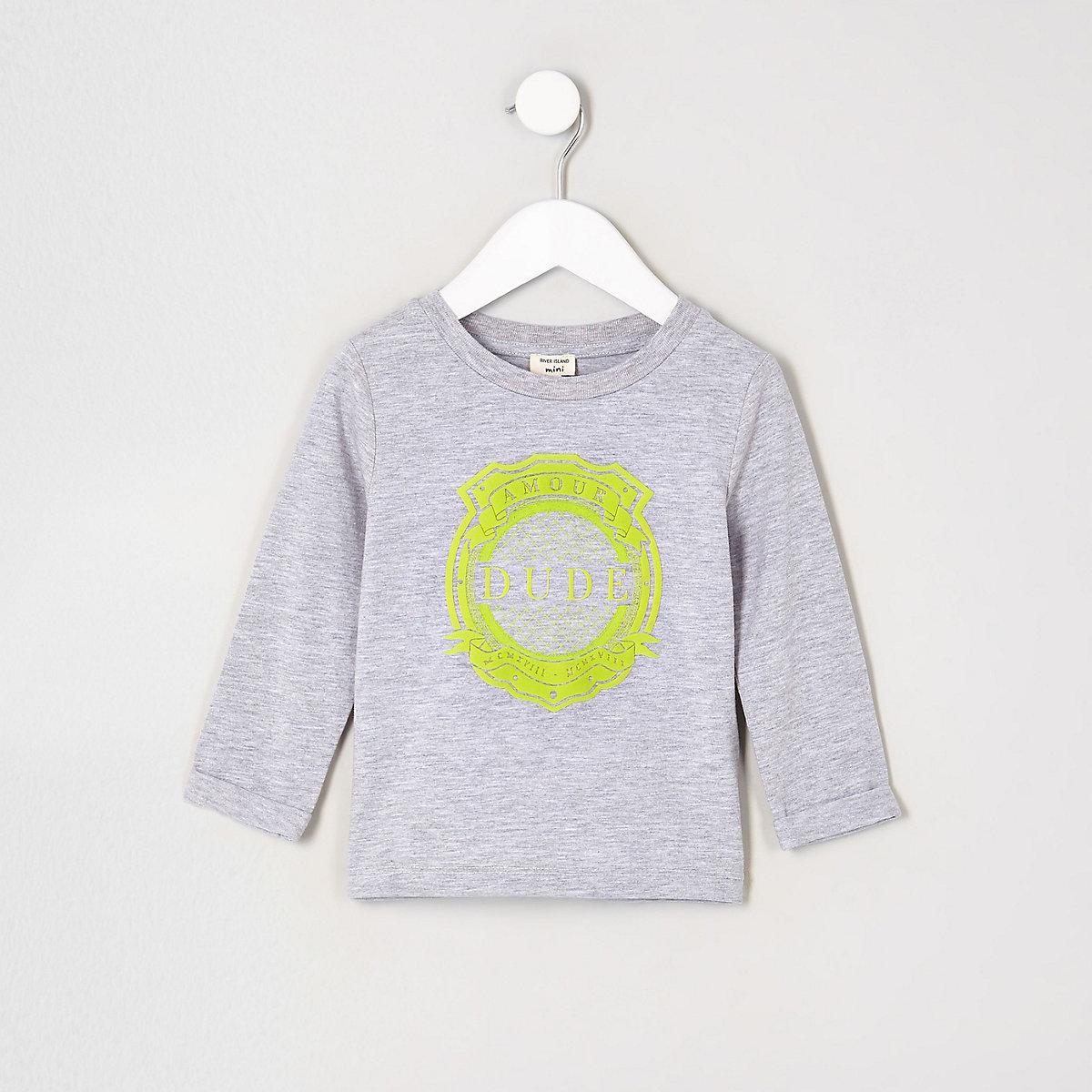 Mini boys grey 'dude' long sleeve T-shirt