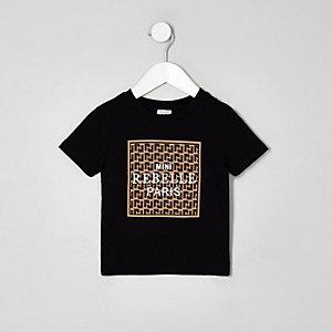 T-shirt «Mini rebelle» noir mini garçon
