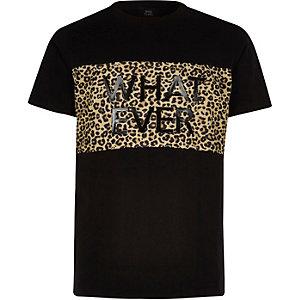 Zwart T-shirt met luipaard- en 'whatever'-print voor jongens