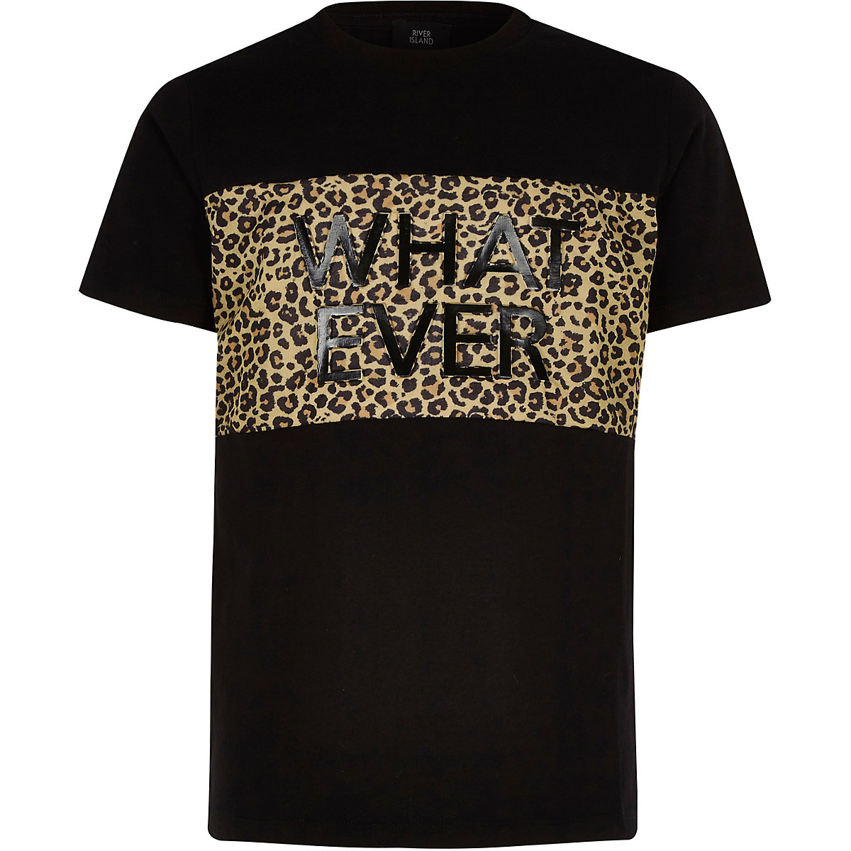 Boys black leopard 'whatever' printed T-shirt
