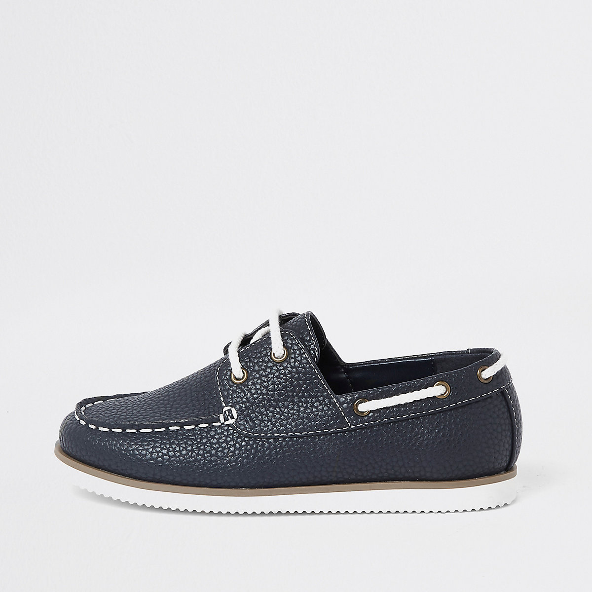 Boys navy textured lace-up boat shoes