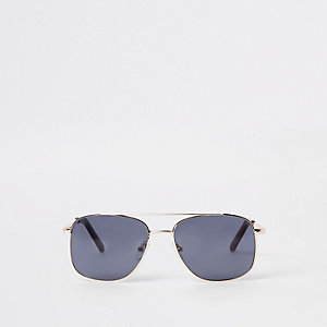 Boys gold tone round aviator sunglasses