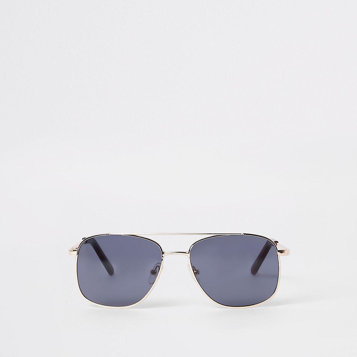 Boys gold tone round aviator sunglasses