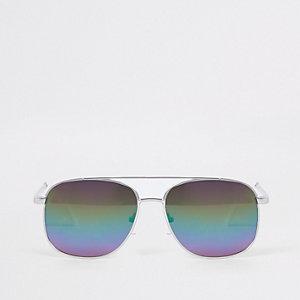 Zilverkleurige zonnebril met regenboogglazen voor jongens