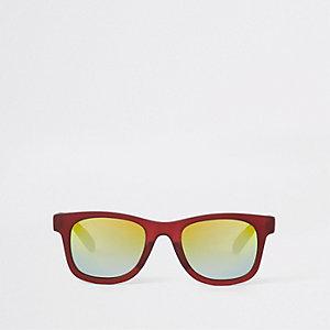Mini - Rode retro zonnebril met roodgekleurde glazen voor jongens