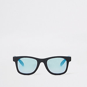 Mini - Zwarte retro zonnebril met blauwe glazen voor jongens