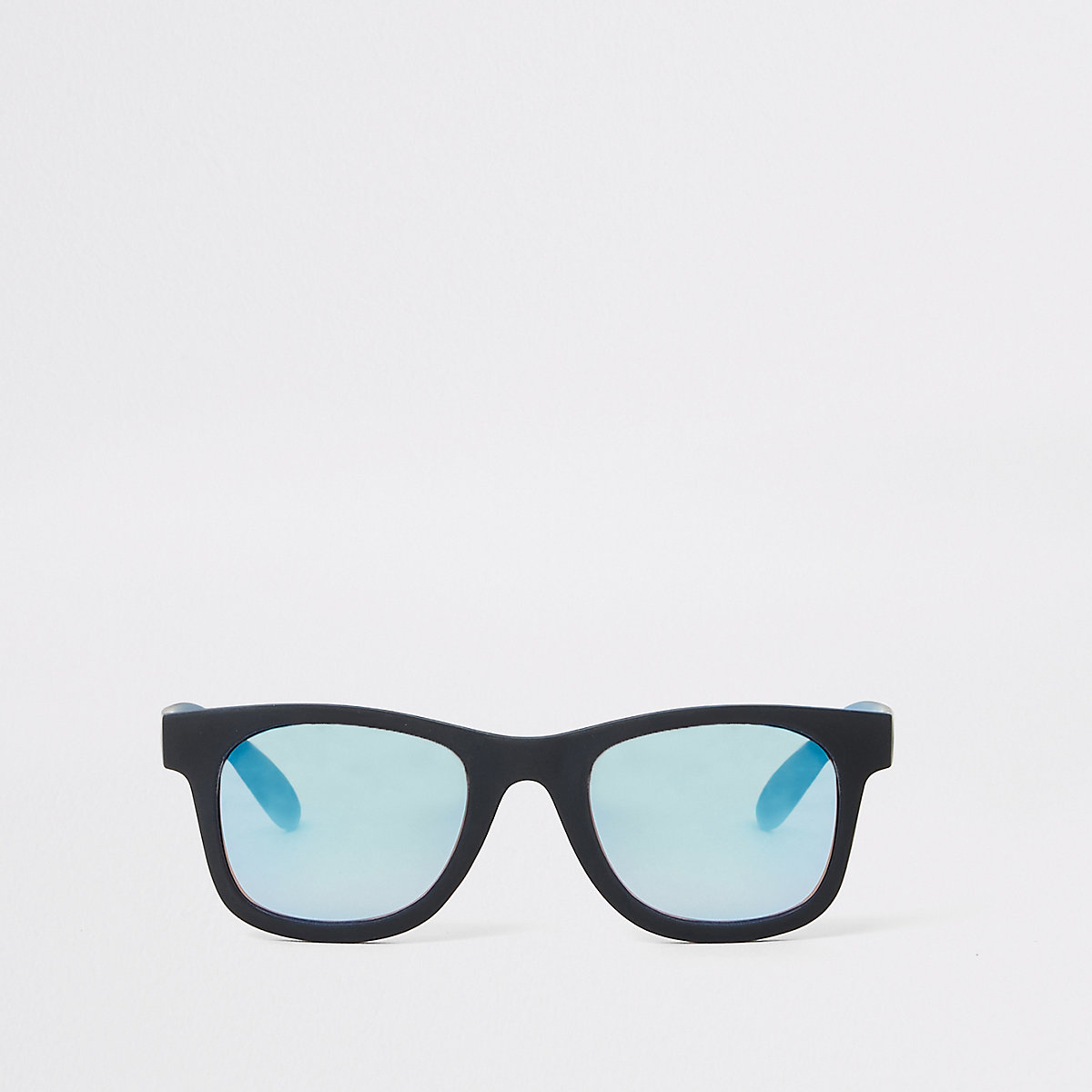 Mini boys black retro blue lens sunglasses