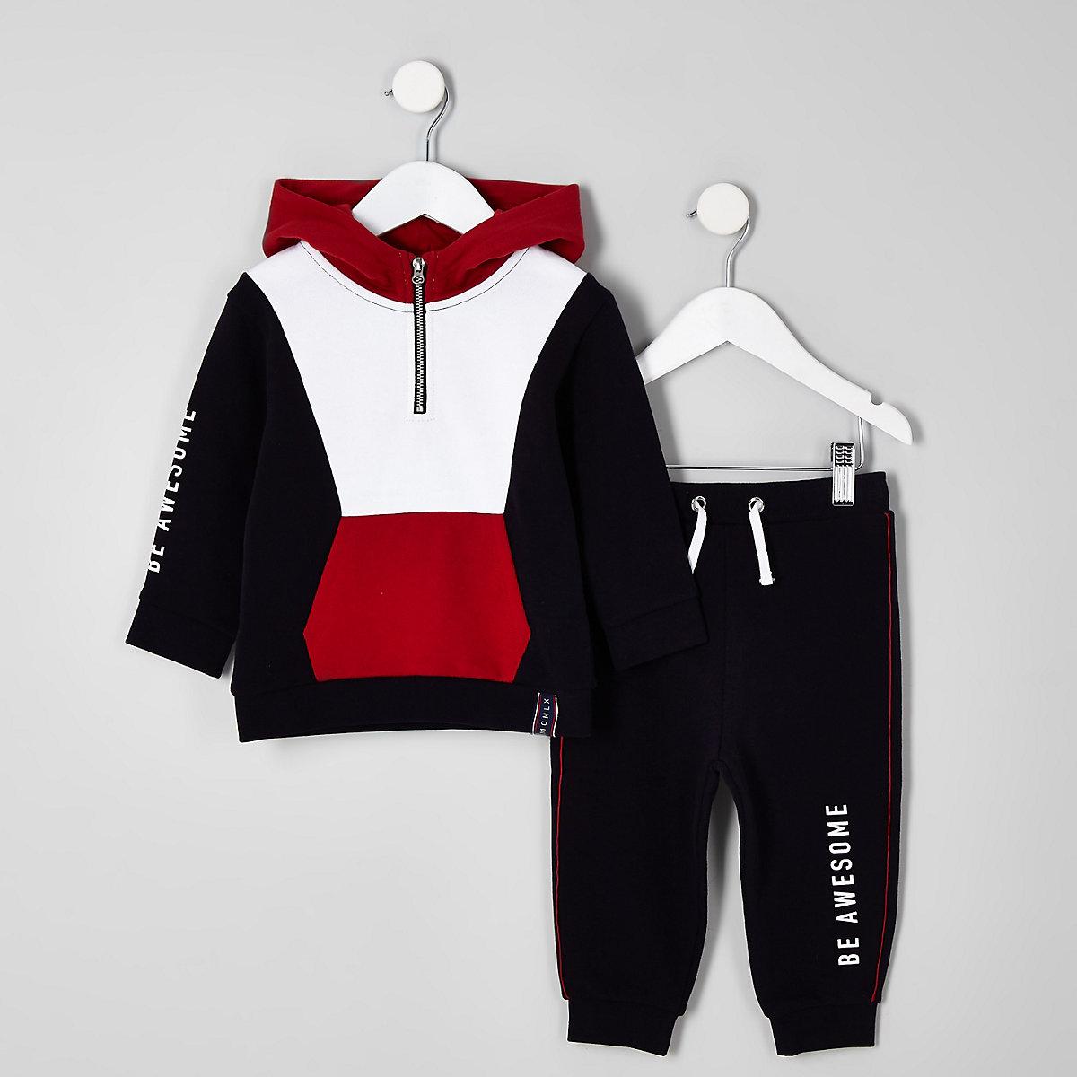 Mini boys navy block hoodie outfit