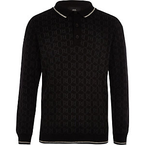 Boys black RI long sleeve polo shirt