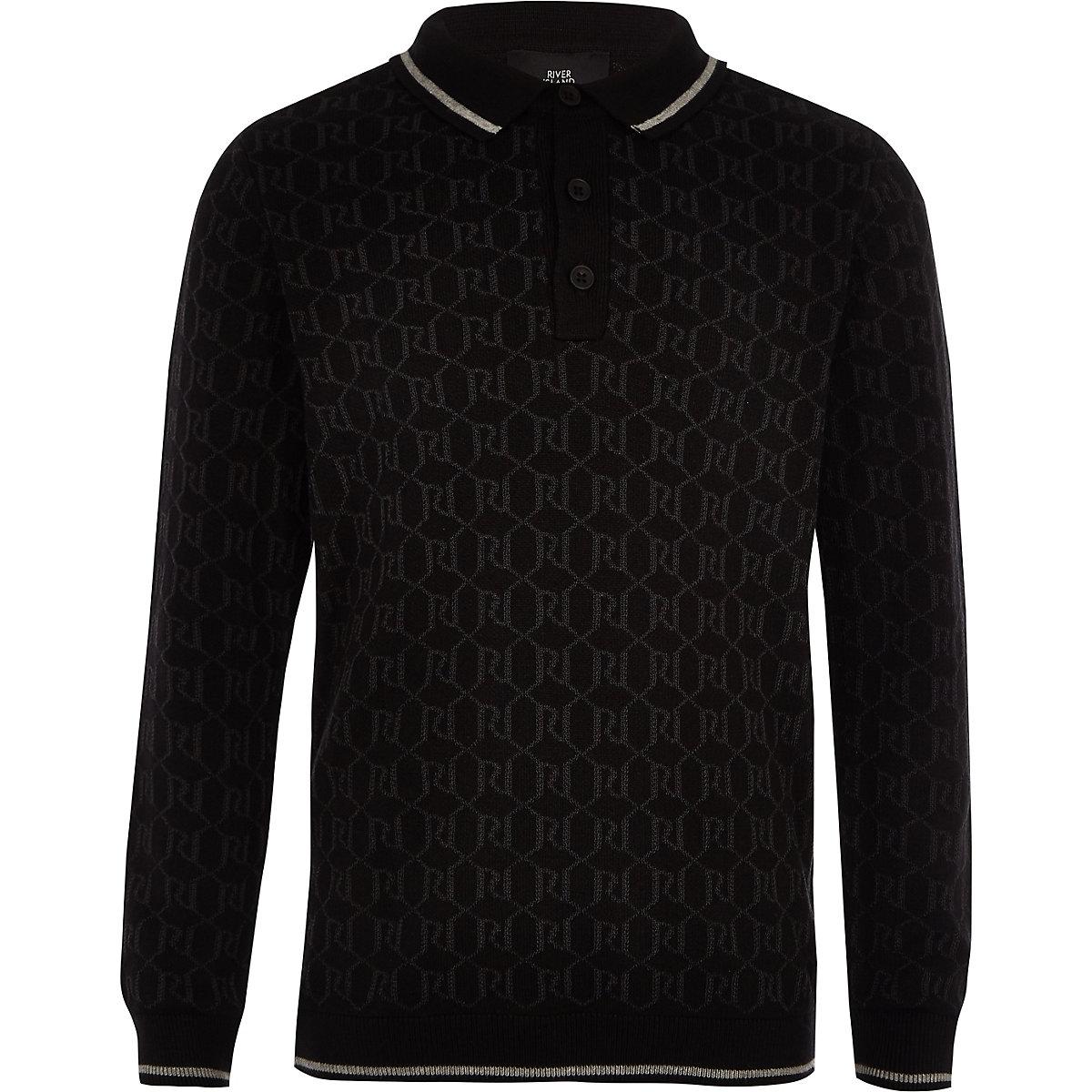Boys black RI long sleeve polo shirt