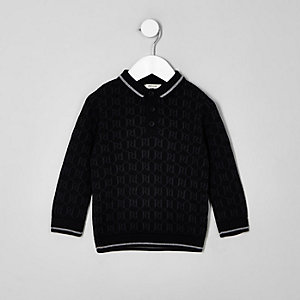 Mini boys black RI long sleeve polo shirt