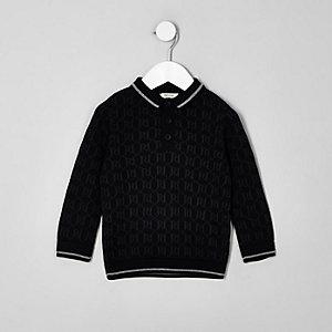 Mini - Zwart poloshirt met RI-logo en lange mouwen voor jongens