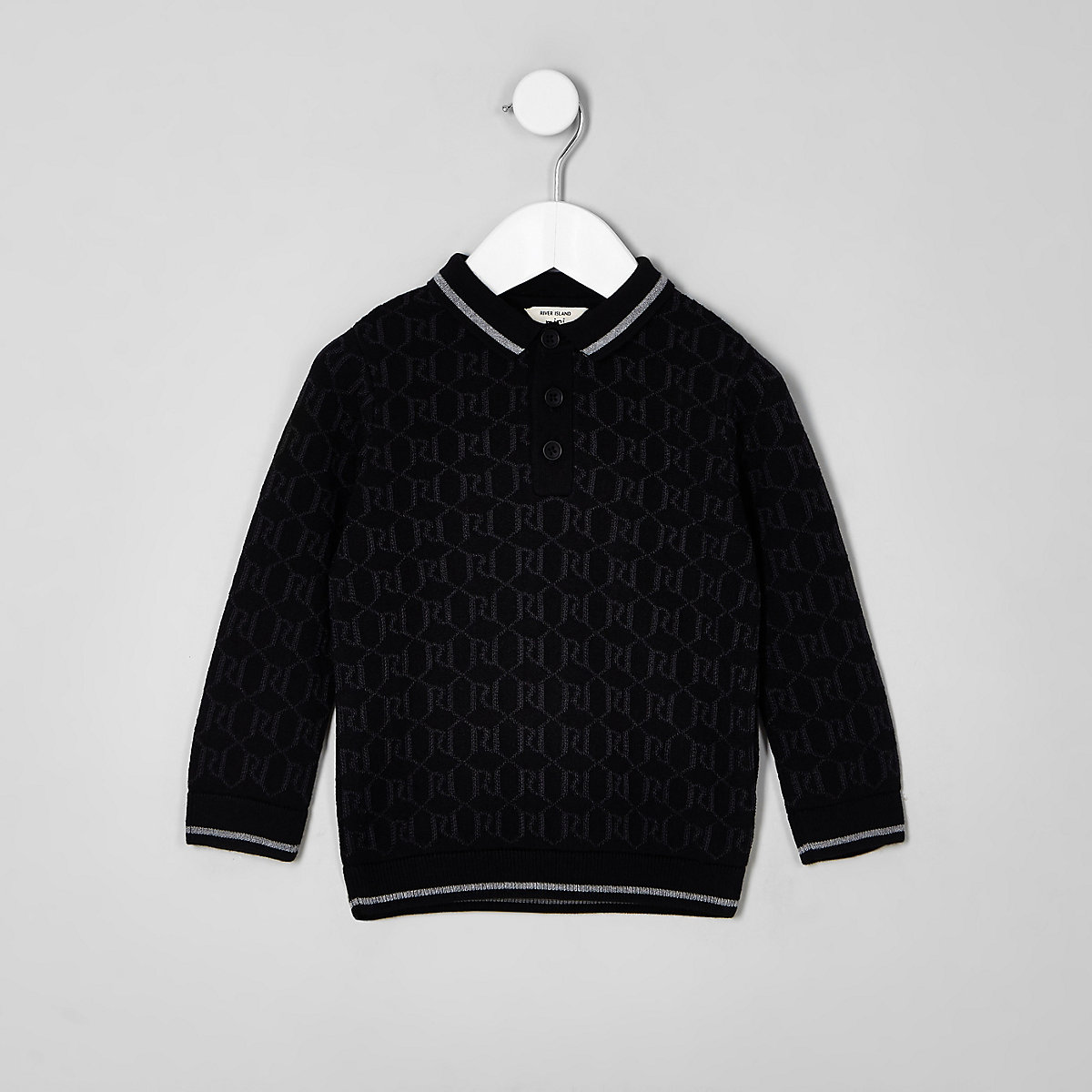 Mini boys black RI long sleeve polo shirt