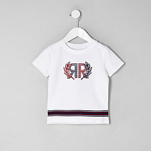 Mini - Wit RI T-shirt van piqué-stof voor jongens