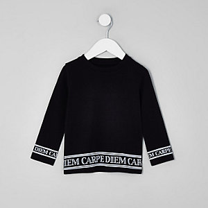 Mini boys black 'carpe diem' hem print top