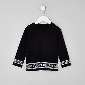 Mini - Zwarte top met 'carpe diem'-print op de zoom voor jongens