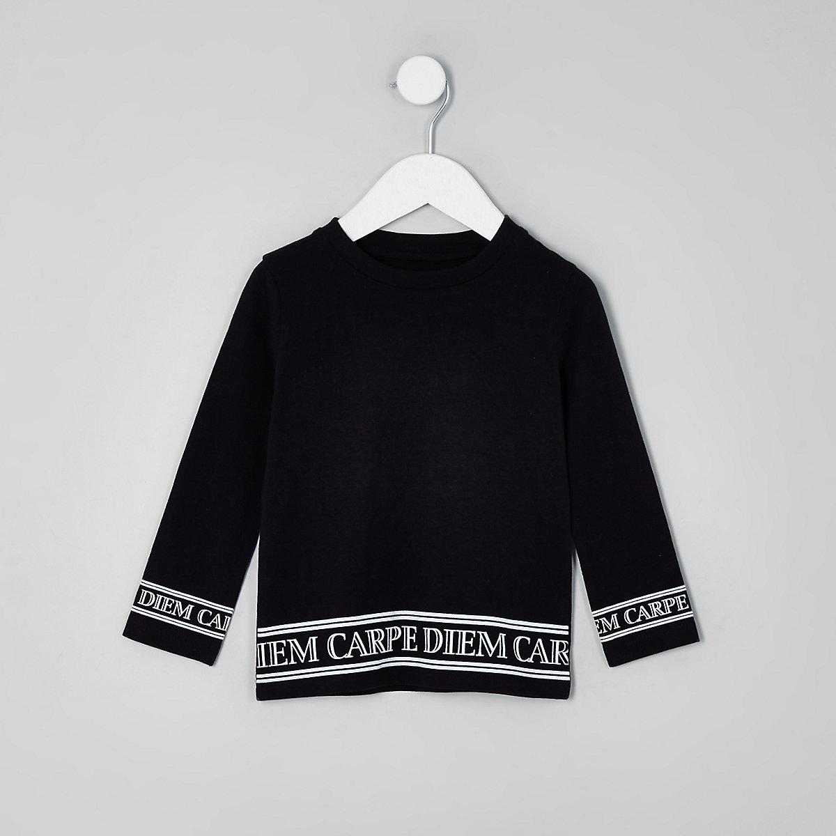Mini boys black 'carpe diem' hem print top