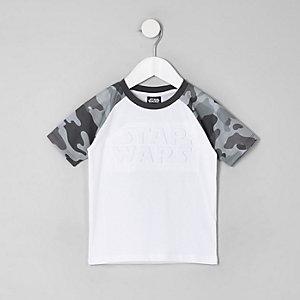 Mini - Wit T-shirt met camouflage- en Star Wars-print voor jongens