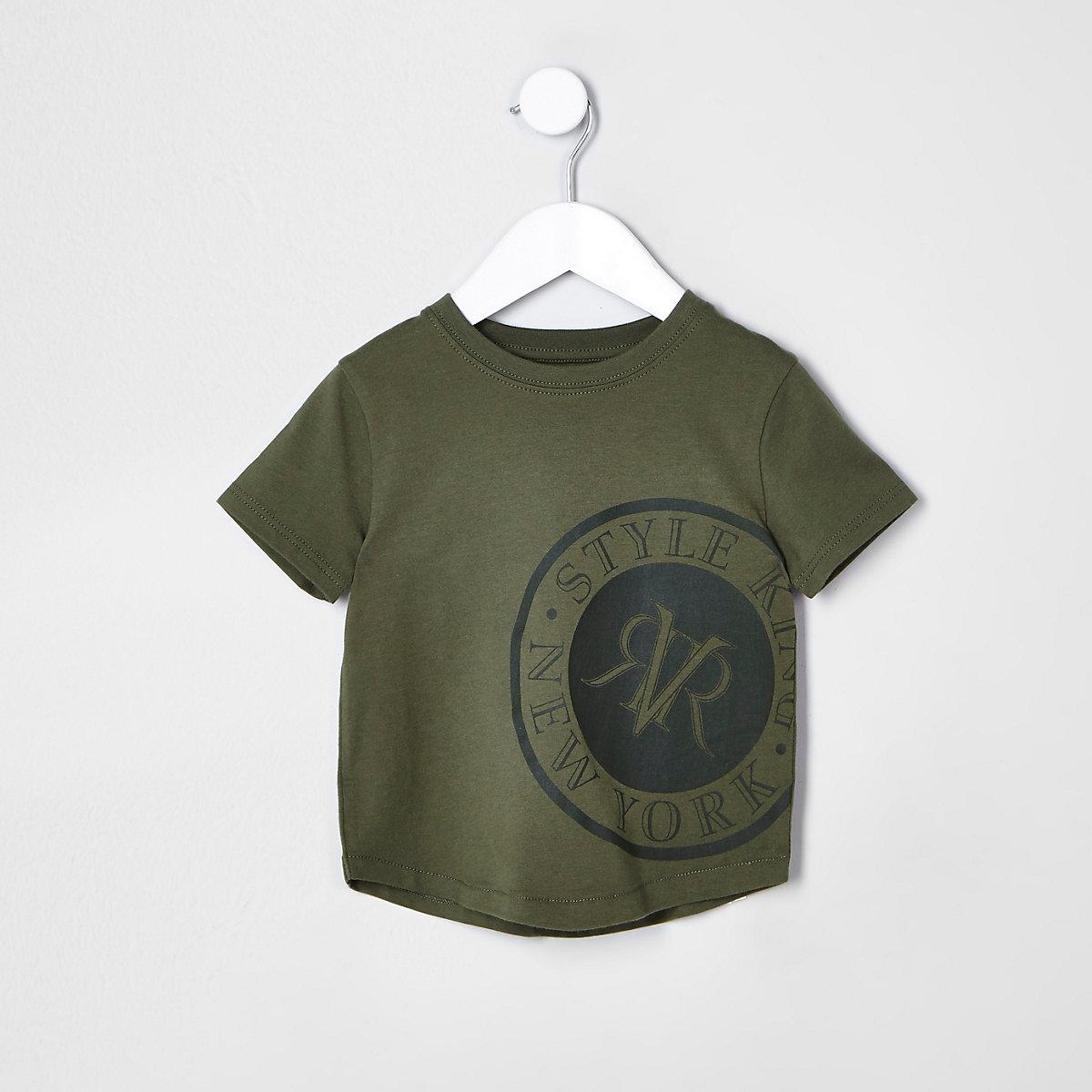 Mini boys khaki 'New York' T-shirt