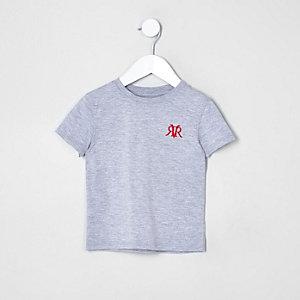 T-shirt gris à broderie sur la poitrine mini garçon