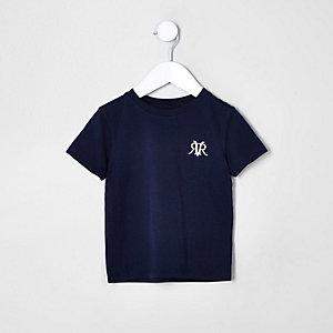 Marineblaues T-Shirt mit Stickerei auf der Brust