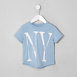 Mini boys light blue 'NY' T-shirt