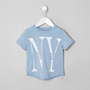 Mini - Lichtblauw T-shirt met 'NY'-print voor jongens